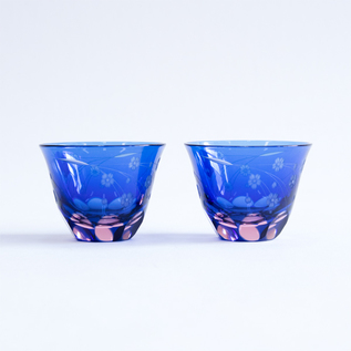 GLASS EDO KIRIKO SAKURA PATTERN SAKE GLASS