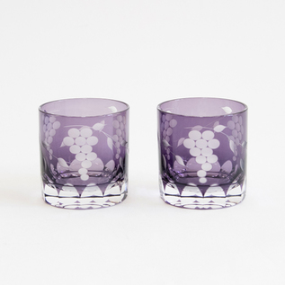 GLASS EDO KIRIKO GRAPE PATTERN MINI OLD