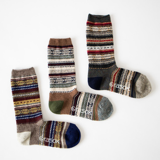 MEN JACQUARD WOOL CREW  SOCKS