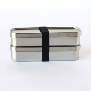 Square lunch box slim two-layers