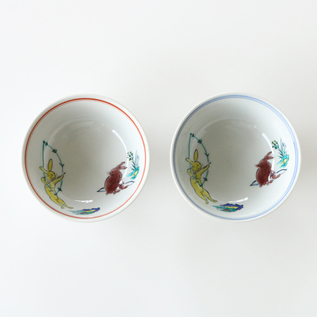Wildlife caricature Rice bowl set of 2