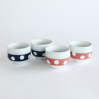 HIZEN YOSHIDA POTTERY POLKA DOTS TEACUP SET OF 4