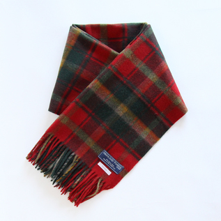 PLAID STOLE RED BROWN