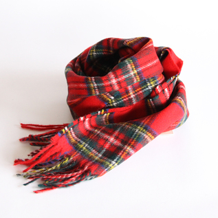 WOOL SCARF RED BROWN