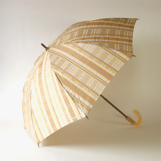 Check jacquard rain or shine combined parasol Beige