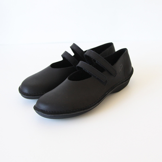 Double Strap Flat Shoes Black