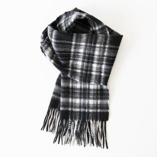Scafe Arran Tartan Stole-Black and White Stewart