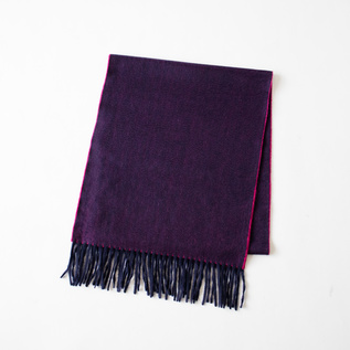 SCARF ARRAN SEMI REVERSIBLE NAVY RASPBERRY
