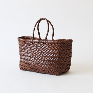 Leather mesh basket Small DK Brown