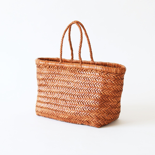 Leather mesh basket Small Tan
