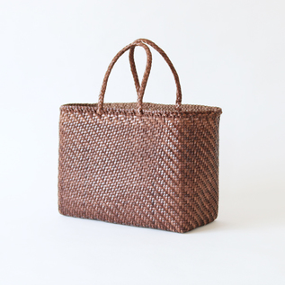 Leather mesh bag big DK Brown