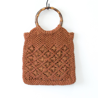 LEATHER MESH BAG BAMBOO HANDLE