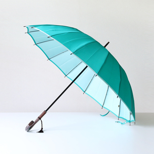 Koshu woven long umbrella Kasane mint green-white