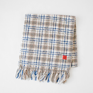 マフラー CHECKED BLANKET BLEACHED