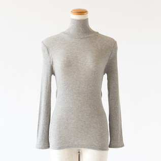 COTTON WOOL CIRCULAR KNITTING HIGH NECK LONG SLEEVES