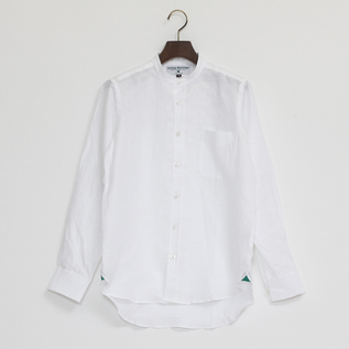 Linen Long Sleeve shirts band collared White