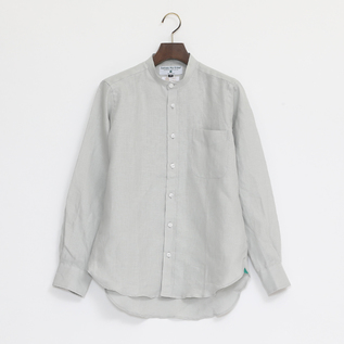 Linen Long Sleeve shirts band collared Pure Grey