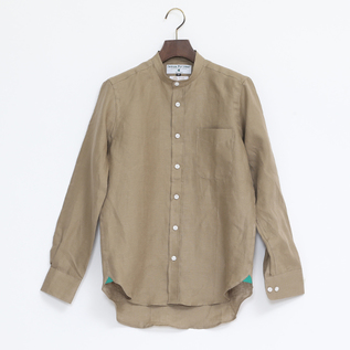 Linen Long Sleeve shirts band collared Coffee