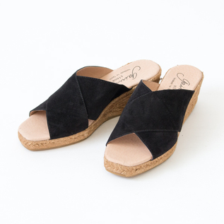 CROSS BELT ESPADRILLE MULE BLACK