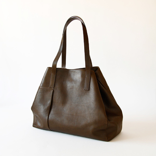 Leather Tote Bag  grande poche OLIVE