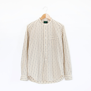 Men Band collar shirt Saloon Natural Stripe