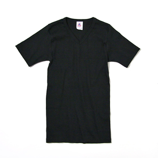 Plain V-neck Short Sleeve T-shirt Black