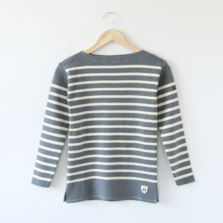 STRIPE LONG SLEEVE T-SHIRT BREST MERANGE MID GRAY ECRU