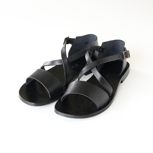 Leather sandals W0162 NERO