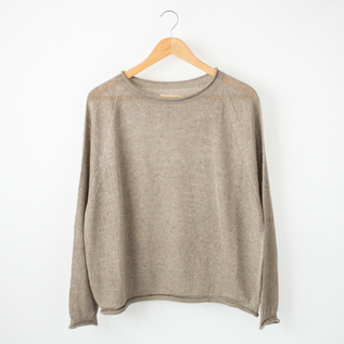 BELGIU LINEN ROLL NECK COLLAR SWEATER