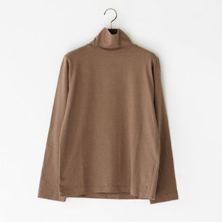 LINEN COTTON HIGH-NECKED TEE