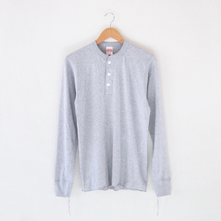 Henley Neck L-S Tee Heather Gray