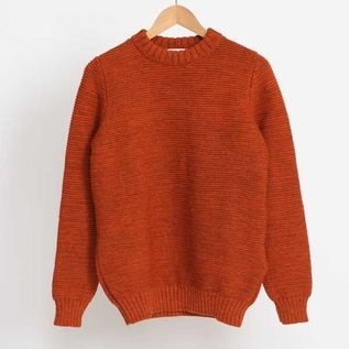 Pearl Stitch Crew Neck Burnt Orange