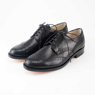 Wing tip leather shoes BLACK