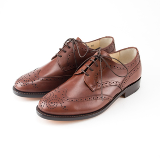 Wing tip leather shoes BROWN