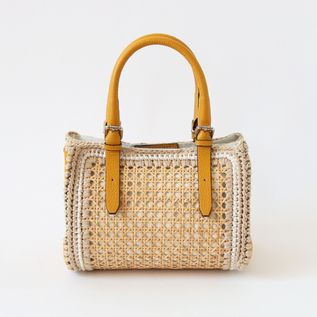 BESPOKE RATTAN LEATHER BAG L YELLOW
