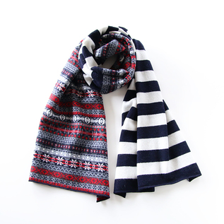 FAIR ISLE STOLE WITH STRIPES