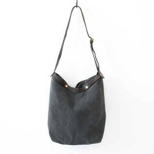 BESPOKE LINEN LEATHER SHOULDER BAG FONIKKU