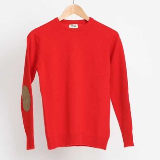 CREWNECK ELBOW PATCHED SWEATER SCARLET