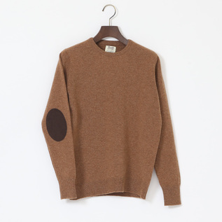 crewneck elbow patch sweater
