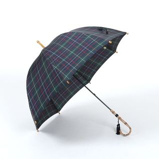 LADIES LONG UMBRELLA CHECK GREEN