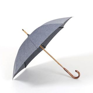 LADIES ALL-WEATHER LONG UMBRELLA COTTON LINEN NAVY