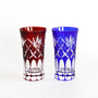 Glass Edo Kiriko Kenyaraigasane pattern Beer glass pair