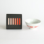Hizen Yoshida polka dot rice bowl and chopstick rest set