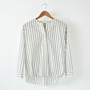 COTTON STRIPE COLLARLESS SHIRT