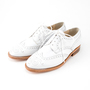 Wing tip leather shoes WHITE