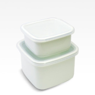 WHITE SERIES ENAMEL CONTAINER SQUARE