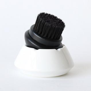 靴ブラシ 黒毛(黒毛×白容器)