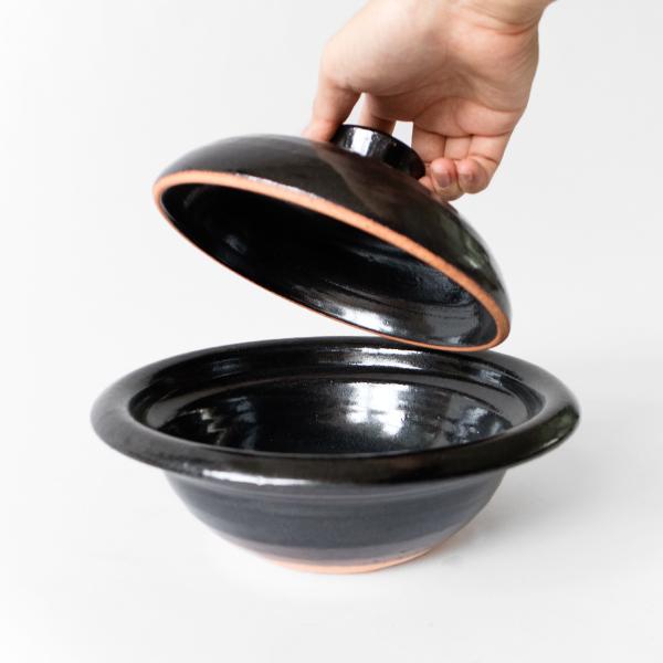 丸輪鍋一人用(天目釉 黒)