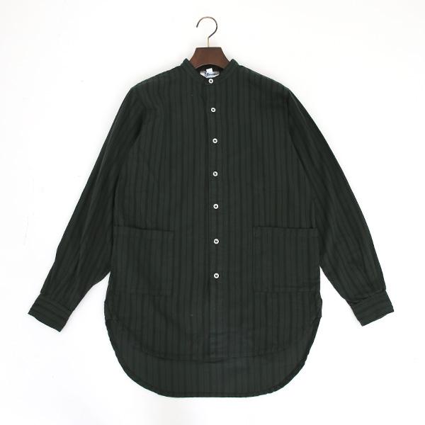 バンドカラーシャツ(Green Stripe)