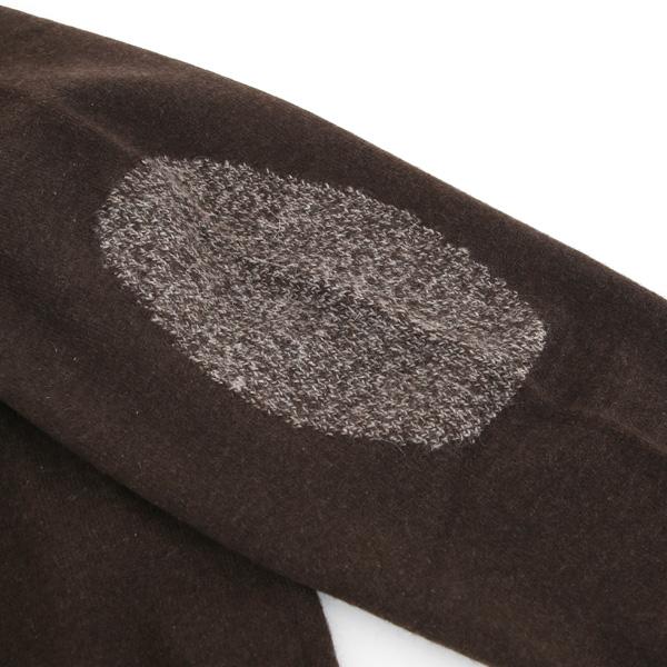 インターシャー編みのエルボーパッチ(ダークブラウン)